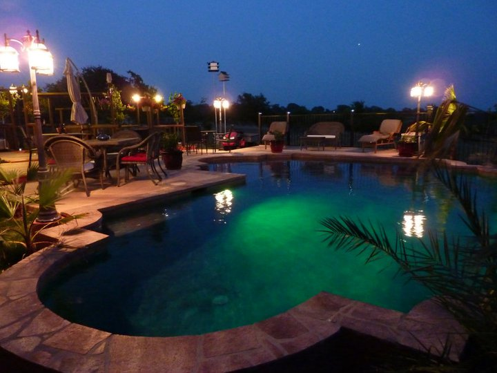 pool at night with security lights
