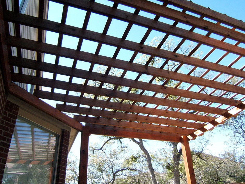 grated awning made of wood