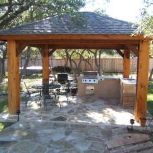 outdoor kitchen with rock path