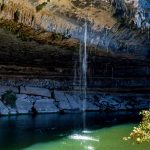 hamilton pool with waterfall in summer